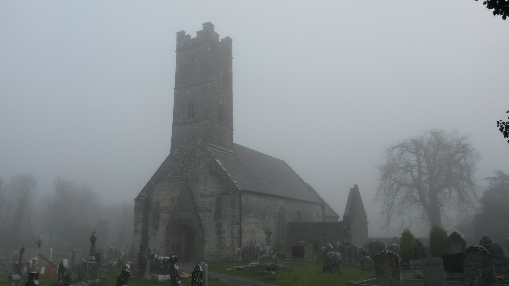 Clonfert Cathedral in fog