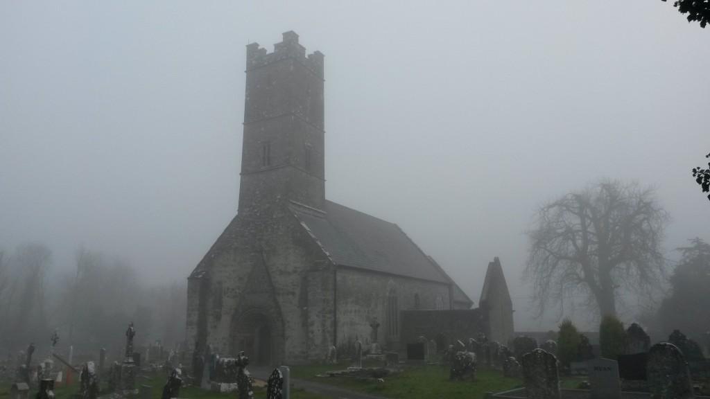 Clonfert Cathedral in fog